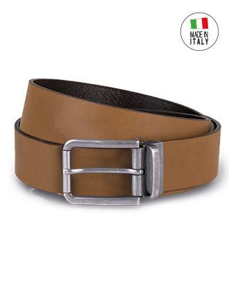 Raw edge leather belt - 35 mm