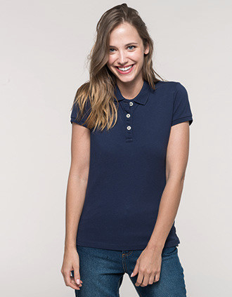 Ladies' vintage short sleeve polo shirt