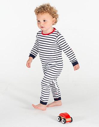 Striped long-sleeved bodysuit