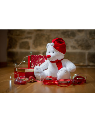 Zipped Christmas cuddly toy bear