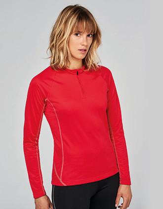 Ladies' zip neck running sweatshirt