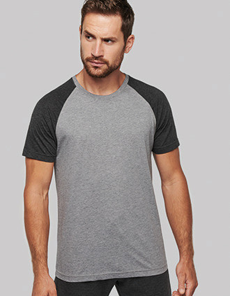 Adult Triblend two-tone sports short-sleeved t-shirt