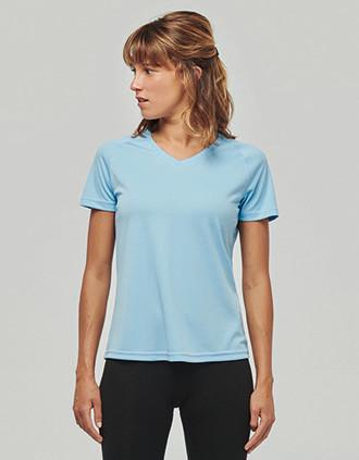 Ladies' V-neck short-sleeved sports T-shirt