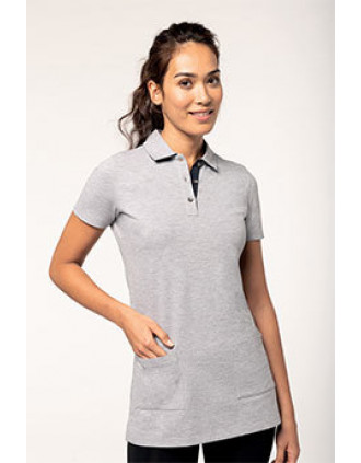 Ladies' short-sleeved longline polo shirt