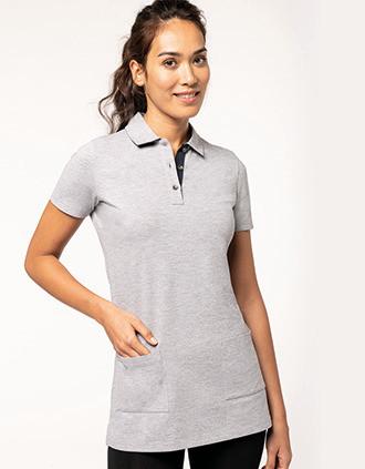 Ladies' short-sleeved longline polo shirt